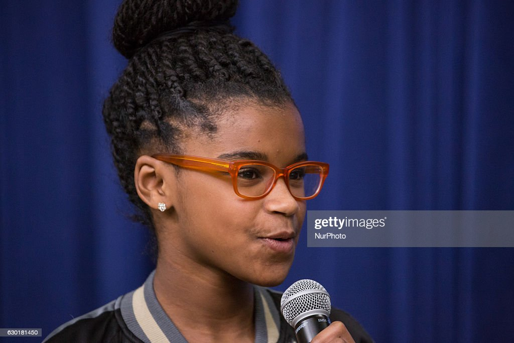 In the South Court Auditorium of the Eisenhower Executive Office Building of the White House in Washington DC, on 16 December 2016, (l-r), 11-year-old Marley Dias, Editor of Marley Mag, ELLE Magazine, speaks, as part of the panel: An Armchair with ELLE- Lessons, Leadership and Legacy: The Journey Toward Opportunity for All.