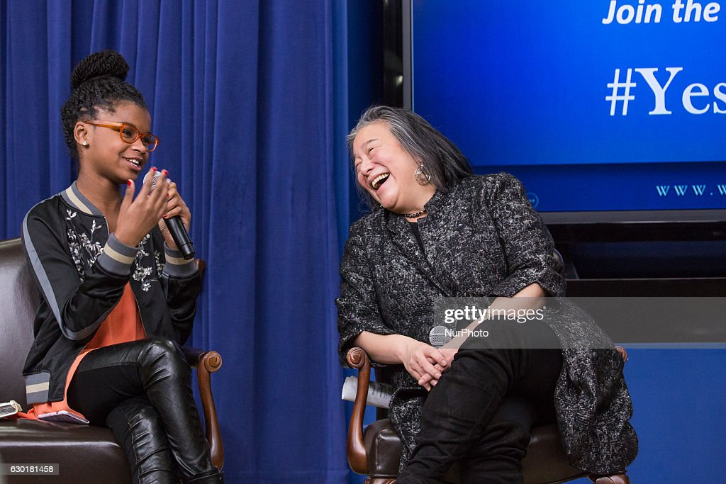 In the South Court Auditorium of the Eisenhower Executive Office Building of the White House in Washington DC, on 16 December 2016, (l-r), 11-year-old Marley Dias, Editor of Marley Mag, ELLE Magazine, speaks, as Tina Tchen, Assistant to the President, Chief of Staff to the First Lady and Director of the White House Council on Women and Girls, listens, as part of the panel: An Armchair with ELLE- Lessons, Leadership and Legacy: The Journey Toward Opportunity for All.