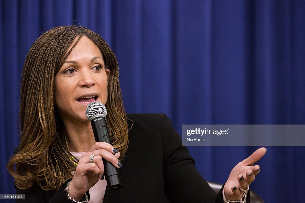In the South Court Auditorium of the Eisenhower Executive Office Building of the White House in Washington DC, on 16 December 2016, Melissa Harris-Perry, Editor-at-Large, ELLE Magazine, participated in: An Armchair with ELLE- Lessons, Leadership and Legacy: The Journey Toward Opportunity for All.