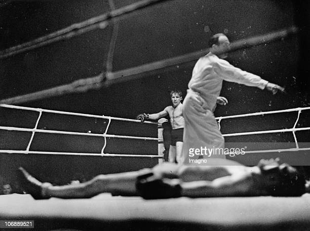 """In the """"Sportpalast"""" in front of an audience of 10.000 people, Gustav Eder wins over his challenger, the Belgian Felix Wouter, in the 9th round with..."""