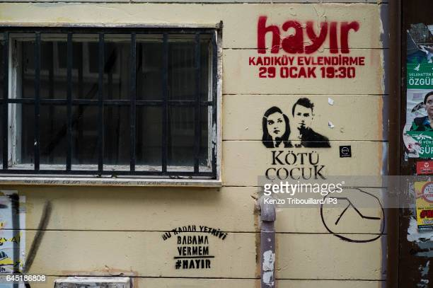 In the streets of Kadikoy district posters invite to vote 'no' to the referendum on February 22 2017 in Istanbul Turkey Citizens of Turkey are called...