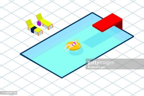 in the swimming pool - isometric stock pictures, royalty-free photos & images