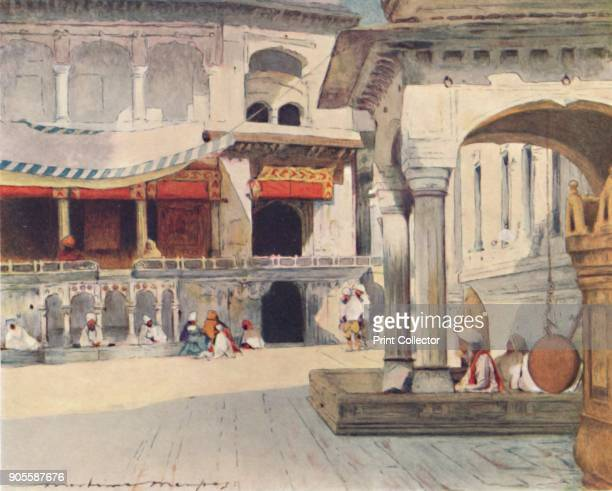 'In the Temple of Amritsar' 1905 From India by Mortimer Menpes Text by Flora A Steel [Adam Charles Black London 1905] Artist Mortimer Luddington...