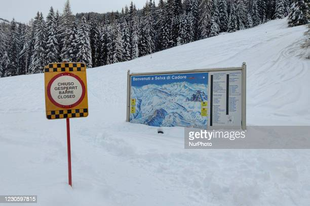 In the the lifts closing sign at the start of the chairlift that connects Pescul with the Cima del Monte Fertazza at an altitude of 2081 meters. The...