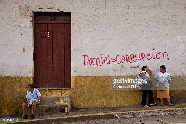 In the town of Masaya political graffitti denounces Daniel Ortega as a corrupt president