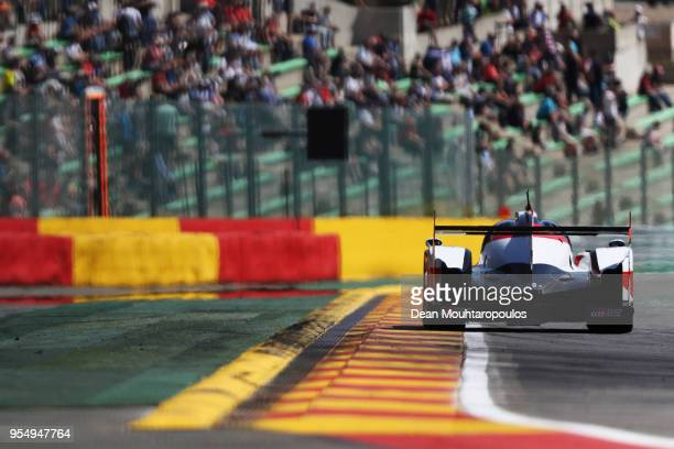 In the Toyota TS050 - Hybrid driven by Sebastien Buemi of Switzerland, Kazuki Nakajima of Japan and Fernando Alonso of Spain competes during the WEC...