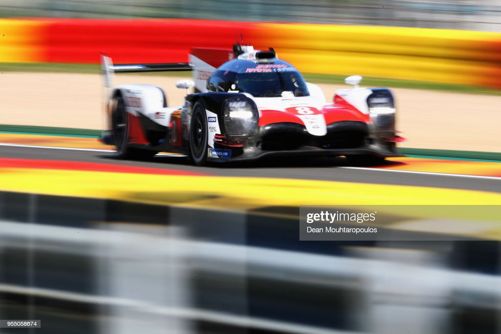 RACING in the Toyota TS050 - Hybrid driven by Sebastien Buemi of Switzerland, Kazuki Nakajima of Japan, Fernando Alonso of Spain competes in the WEC 6 Hours Of Spa-Francorchamps Race at Circuit de Spa-Francorchamps on May 5, 2018 in Spa, Belgium.