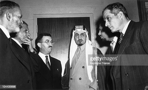 In the United Nations offices at Flushing Meadows Prince FAYSAL ibn ABD ALAZIZ of Saudi Arabia among the representatives of the Arab countries during...