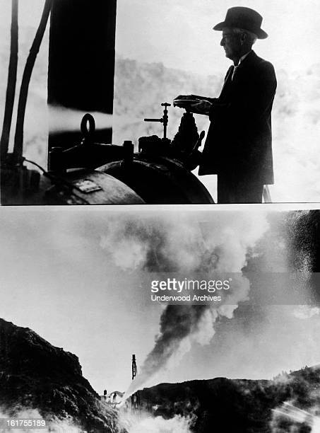 In the upper photograph, Luther Burbank turns on a steam turbine electro generator, and in the bottom one a jet of steam is shooting from a five inch...