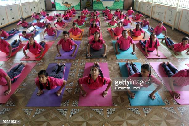 Yoga training for blind girls at Kamala Mehta School Dadar for Yoga day will be happening on 21st June on June 19 2018 in Mumbai India