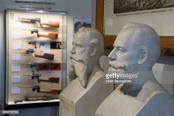 In the weapons museum of Oberndorf the busts of Wilhelm Mauser and Paul von Mauser German weapons designers and manufacturers In the background...