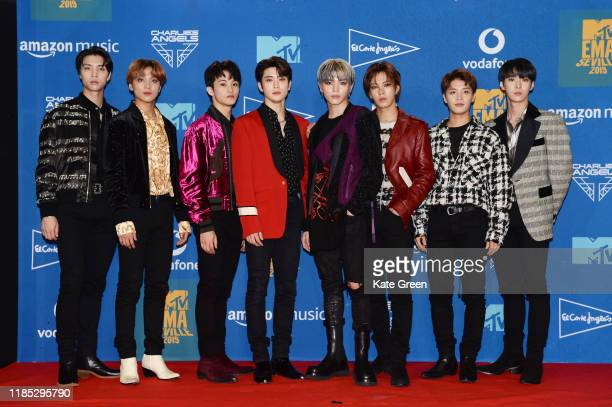 NCT 127 in the winners room during the MTV EMAs 2019 at FIBES Conference and Exhibition Centre on November 03 2019 in Seville Spain