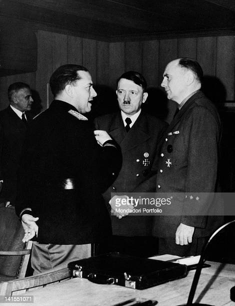 In the Wolf's Lair German Headquarters Fuhrer and Chancellor of Germany Adolf Hitler speaking with Italian Minister of Foreign Affairs Galeazzo Ciano...