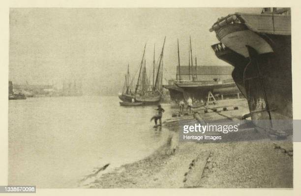 In the Yarmouth River, 1887. A work made of photoetching, pl. Xx from the album 'wild life on a tidal water: the adventures of a house-boat and her...
