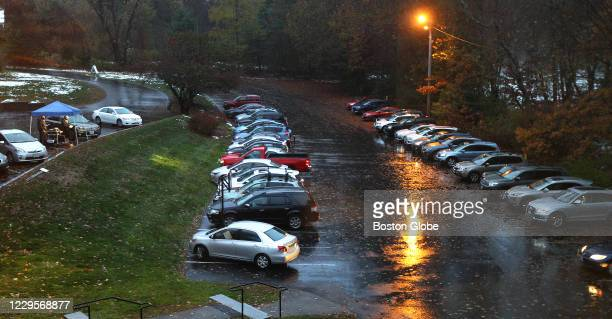 In their cars, people tune to 88.1 FM for the service at St. Anne's in-the-Fields Episcopal Church in Lincoln, MA on Nov. 1, 2020. St. Anne's...