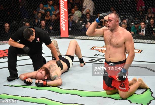 in their heavyweight bout during the UFC 213 event at TMobile Arena on July 8 2017 in Las Vegas Nevada