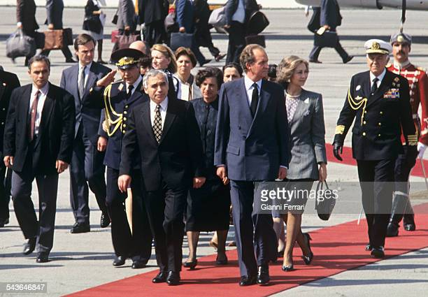 In their official trip to Bulgaria the Spanish Kings Juan Carlos de Borbon and Sofia are greeted at the airport of Sofia by the President Zhelyu...
