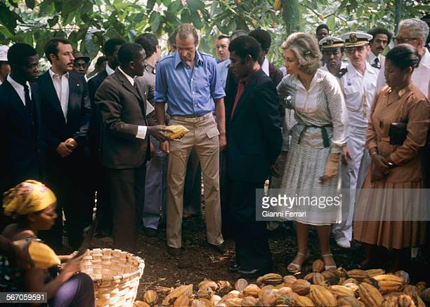In their official trip to Equatorial Guinea the Spanish King Juan Carlos of Borbon and Sofia of Greece visit a cocoa plantation Malabo Equatorial...