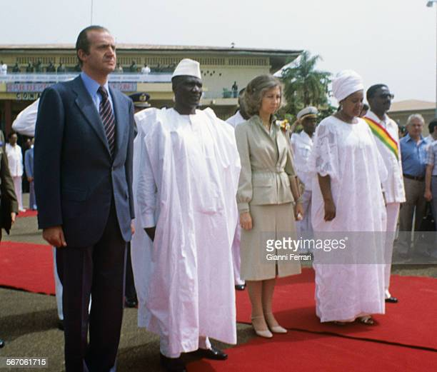 In their official trip to Guinea Conakry the Spanish Kings Juan Carlos of Borbon and Sofia of Greece are greeted at the airport of Conakry by Guinean...
