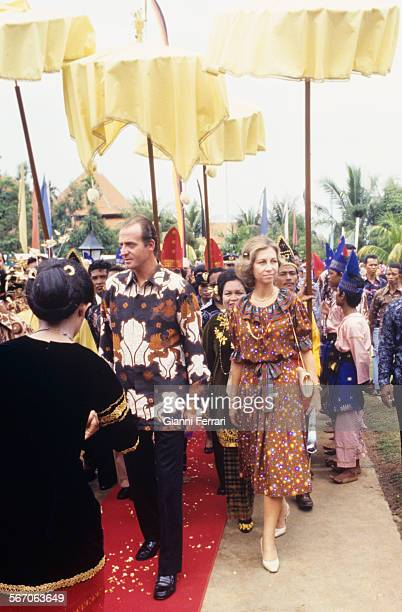 In their official trip to Indonesia the Spanish Kings Juan Carlos of Borbon and Sofia of Greece visit the park of Taman Mini with Indonesian...
