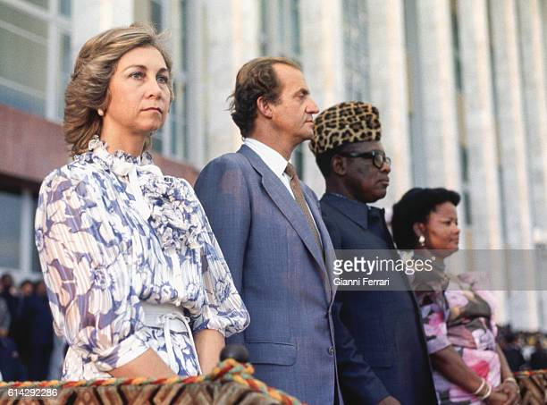 In their official trip to Zaire the Spanish King Juan Carlos of Borbon and the Queen Sofia are received at the airport of Kinsasa by the President...
