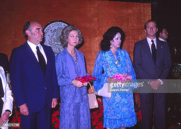 In their official visit the Spanish Kings Juan Carlos and Sofia with Mexican President Lopez Portillo and wife Third November 1978 Mexico City Mexico