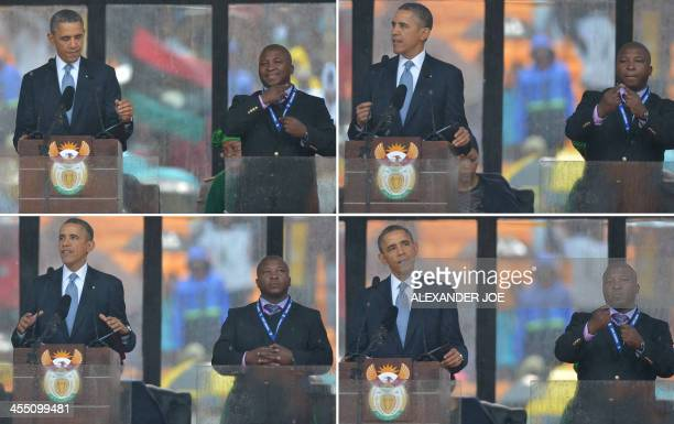 In these combination of pictures taken on December 10 2013 US President Barack Obama delivers a speech next to sign language interpreter Thamsanqa...
