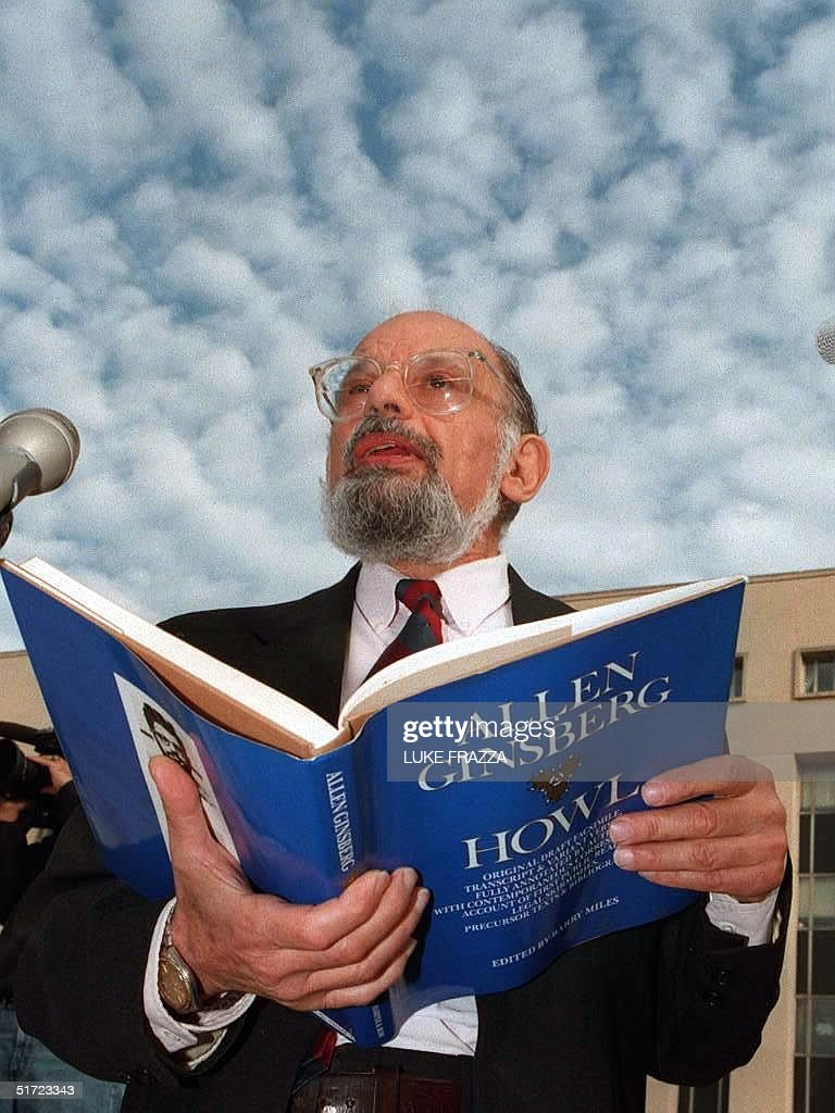 In this 19 October 1994 photo, US poet Allen Ginsburg reads from his book 'Howl' on the steps of the US District courthouse in Washingon, DC, to protest the Federal Communication Commission's policy barring 'indecent' radio broadcasts between 6 am and midnight. Ginsburg, 70, died of liver cancer 05 April at his New York home. AFP PHOTO/FILES/Luke FRAZZA