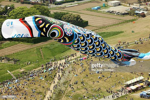 In this aerial image a 100meterlong giant carp streamer is hung on May 3 2014 in Kazo Saitama Japan Kazo city is famous for carp streamers production