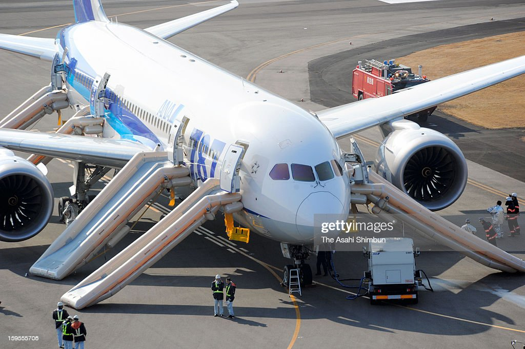 In this aerial image, a Boeing 787 airplane is seen at the runway of Takamatsu Airport on January 16, 2013 in Takamatsu, Kagawa, Japan. All Nippon Airways flight 692, departing from Yamaguchi Ube airport at 8:10 detected smoke inside the aircraft, made an emergency landing at Takamatsu Airport on 8:45, all 137 passengers and crews evacuated from the plane.