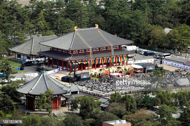 In this aerial image a ceremony to celebrate the reconstruction of the Central Golden Hall is held at Kofukuji temple on October 07 2018 in Nara...