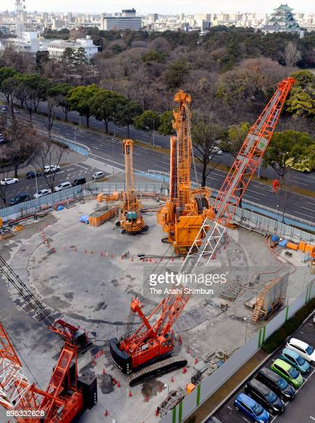 In this aerial image a construction site of the maglev train Nagoya station on December 18 2017 in Nagoya Aichi Japan Investigators from the Tokyo...