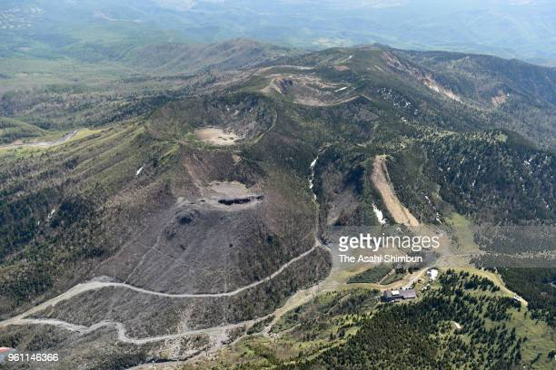 In this aerial image a crator of Mt KusatsuShirane is seen on May 21 2018 in Kusatsu Gunma Japan