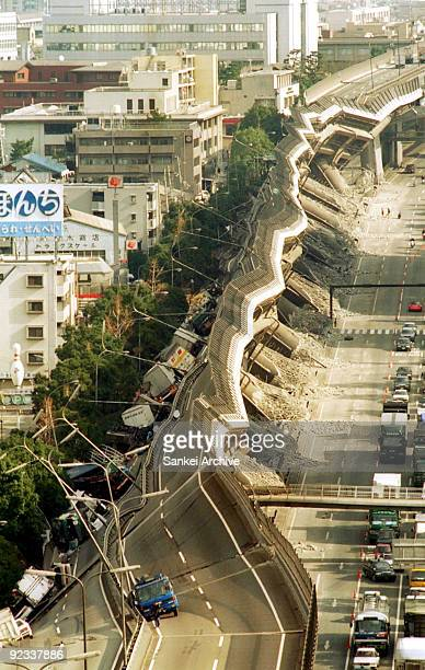 In this aerial image a crumpled Hanshin Highway Kobe Line is seen on January 17 1995 in Nishinomiya Hyogo Japan Nearly 6500 people were killed by the...