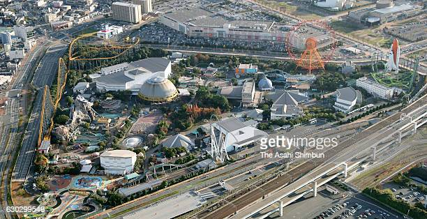 in this aerial image a general view of amusement park 'Space World' is seen on December 16 2016 in Kitakyushu Fukuoka Japan The amusement park...