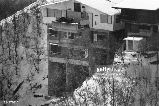 In this aerial image a general view of the Asama Sanso lodge where the United Red Army members take a hostage on February 20 1972 in Karuizawa Nagano...
