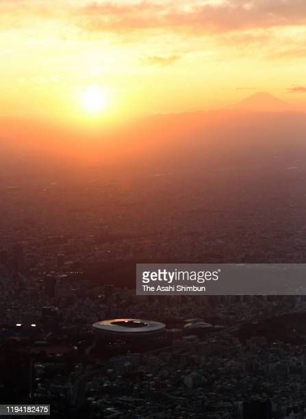 In this aerial image, a general view of the new National Stadium with the Mt. Fuji is seen on the background on December 15, 2019 in Tokyo, Japan.