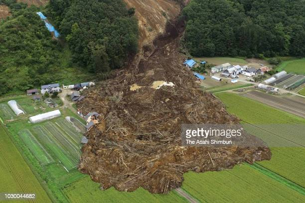In this aerial image a landslide site is seen at Tomisato district three days after the Magnitude 67 earthquake on September 9 2018 in Atsuma...
