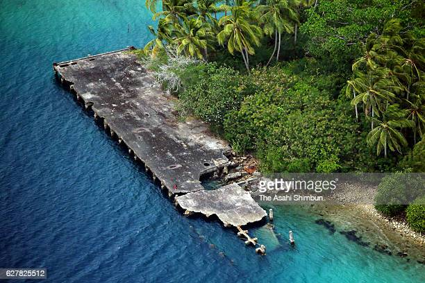 In this aerial image a pier used by the Imperial Japanese Navy remain on August 31 2016 in Gavutu Island Solomon Islands The war was opened up 75...