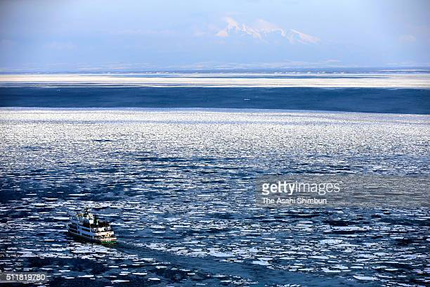 In this aerial image a sightseeing ice breaker cruises among drift ice on February 22 2016 in Abashiri Hokkaido Japan