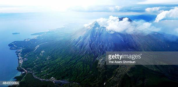 In this aerial image a volcanic plume rises from Mount Sakurajima on August 15 2015 in Kagoshima Japan Residents of parts of Kagoshima city were...