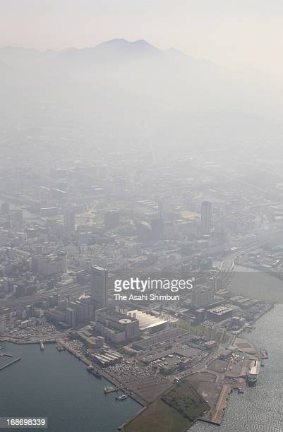In this aerial image air pollution due to fine particulate matter PM25 forming a thick fog above Kitakyushu on May 13 2013 in Kitakyushu Fukuoka...