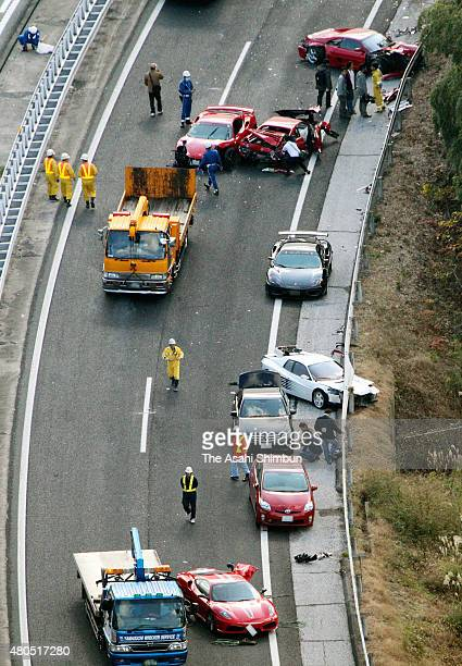 In this aerial image amaged Ferrari are seen after the pileup involving 14 luxury cars at Chugoku Expressway on December 4 2011 in Shimonoseki...