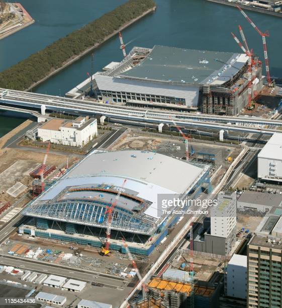 In this aerial image Ariake Arena and Ariake Gymnastics Centre are under construction on March 2 2019 in Tokyo Japan