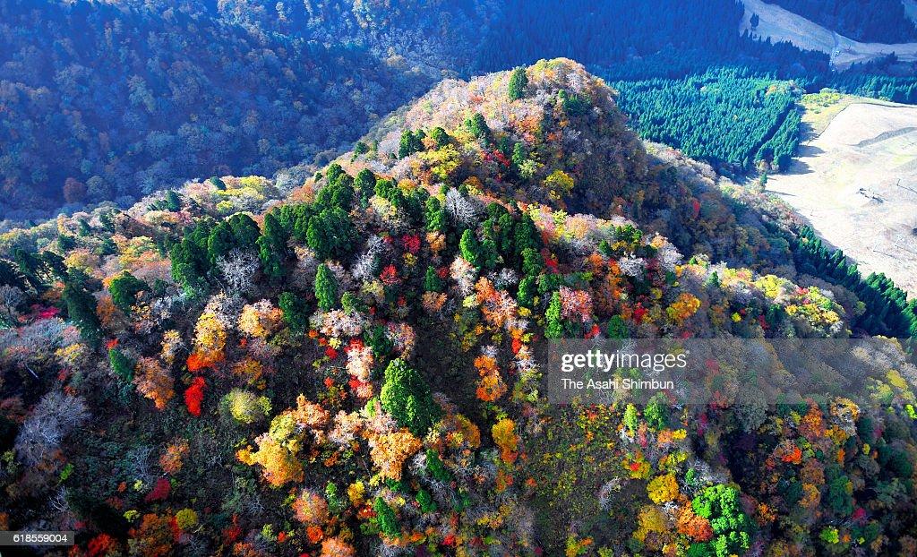 In this aerial image, autumn colours are seen on the summit of Mount Hyonosen on Wakasa, Tottori, Japan.