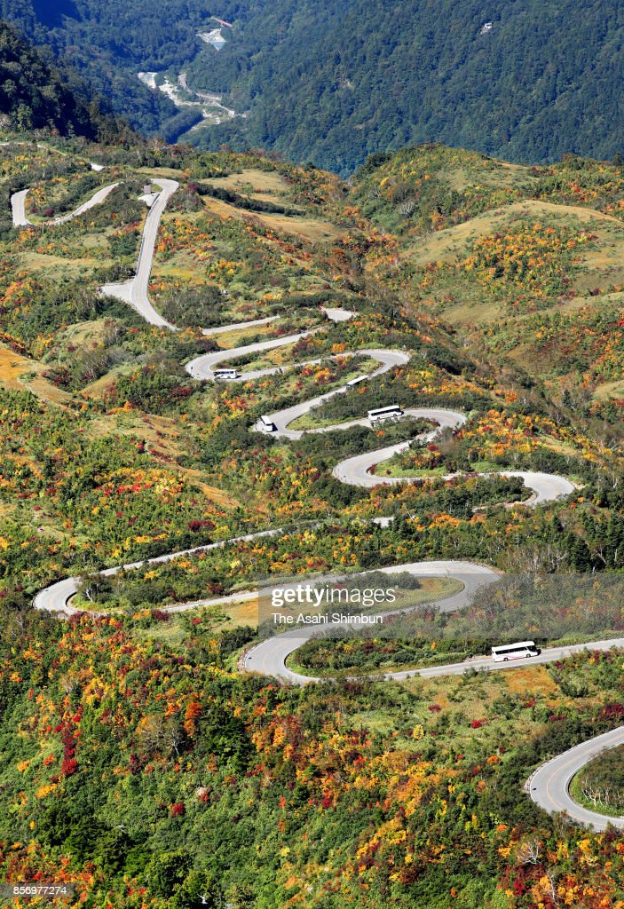 Autumn colours start to appear around Tateyama Kurobe Alpine Route in Japan