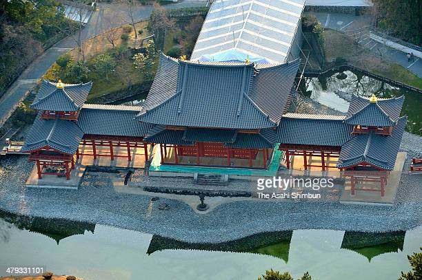 In this aerial image Byodoin temple's Phoenix Hall is seen on March 17 in Uji Kyoto Japan A nearly 1000yearold temple hall here has undergone a major...