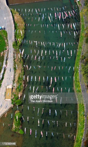 Carp Streamers Are Hung Over The River Stock Photos And Pictures