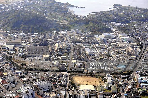 In this aerial image Chisso Minamata factory is seen on February 9 2012 in Minamata Kumamoto Japan