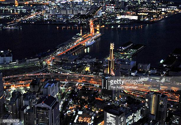 In this aerial image cityscape of Kobe is seen on the 13th anniversary of the Great Hanshin Earthquake on January 17 2008 in Kobe Hyogo Japan